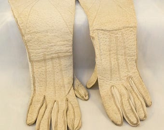 Fab 1930s Art Deco Gauntlet Gloves White Leather