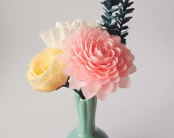 Crepe paper flower bouquet/pink dahlia/pale yellow ranunculus/white peony