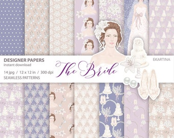 Wedding Paper pack,Digital papers,Bridal Papers,Seamless Patterns,Flower girl,Digital Patterns,unique paper,scrapbooking,planning girl