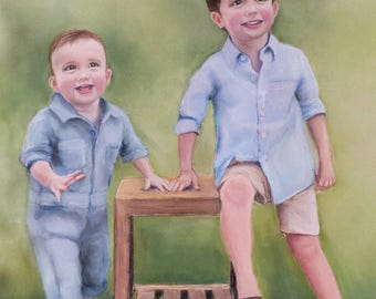 CUSTOM pastel portrait - brothers
