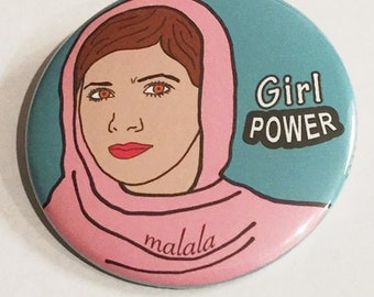 Malala Girl Power Pin Back Button