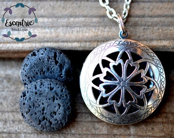 Celtic Lava Stone Essential Oil Diffuser Necklace // Aromatherapy// With a Choice of Essential Oil(12 Variety)