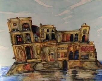 Original, Watercolor,The castle, Gift