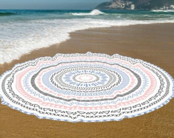 Boho Beach Towels, Yoga mat, Cotton beach roundie towel