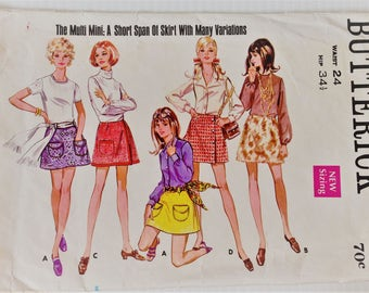 Vintage 1970's Butterick sewing pattern 5490 - Misses'  A-line mini skirt - waist size 24 inches
