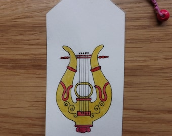 Original double-sided watercolor and pressed flower bookmark with a lyre