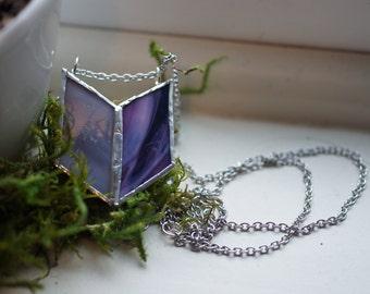 Stained Glass Jewelry -  Purple 'Alita' Necklace - Geometric & Modern