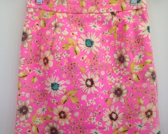 Size 8 pink floral mini skirt
