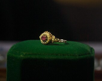 Antique Ruby ( maybe synthetic ) and Matural Pearls Ring. US size 5