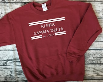 Sorority Sweatshirt. Alpha Gamma Delta est. 1904 - Made for Any Sorority! Cute and Cozy Crewneck Sweatshirt