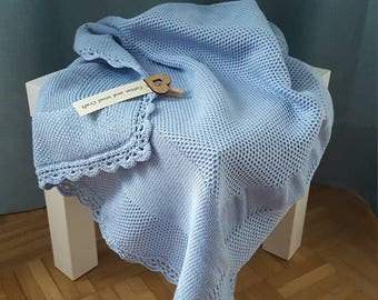 Cotton Baby Blanket, Baby Boy, Knitted Baby Blanket, Handmade New Baby Gift, Baby Shower Gift, Newborn Blanket, Baby clothes