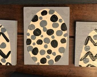 Home made wood egg sign (3 piece set)