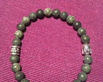 Natural Green Lace Stone Beads w/Buddha
