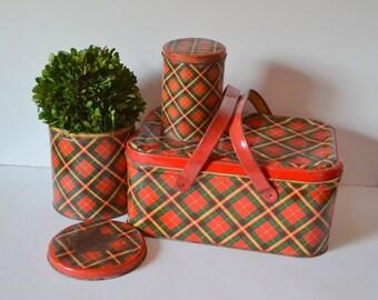 Vintage set of plaid tins - picnic and storage pieces