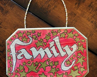 Hand Painted 'Family' Home Decor Wood Plaque