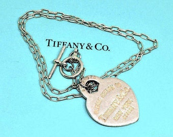 "Tiffany Heart Necklace Large Sterling Vintage Please Return To Heart 1 1/4"" l x 1"" w 18"" chain toggle Designer SALE"