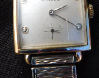 Mens Vintage Watch Antique Benrus Watch Gold Filled Case Manual Wind