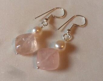 Pearl and Rose Quartz Earrings, gemstone earrings, silver shepherds hook