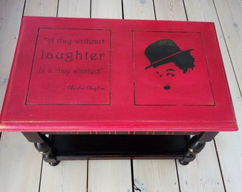 Small table/stool/work box with Charlie Chaplin design!
