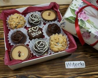 I love you, Box of 9, Gourmet chocolates, Bourbon Balls Chocolates, Belgian Chocolate truffles Artisan chocolate Handmade chocolate