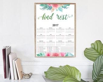 Desk Calendar   2017 A4 Wall Calendar, Printable Calendars, Calendar 2017 PDF, 2017 Yearly Printable Calendar, Planner PDF, Home Decor, 2017