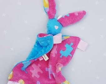 Bunny comforter, baby comforter, baby and toddler toy, soft fleece, minky, faceless toy, muslim toy