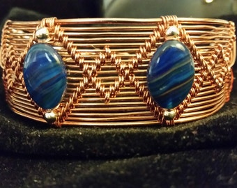 Woven Copper Wire Bracelet with Blue Agate and Silver Beads