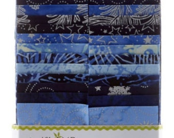"Island Batik Midnight Tinsel Batiks Strip Pack/Jelly Roll by Kathy Engle - 40, 2.5"" of Precut Fabric Strips"