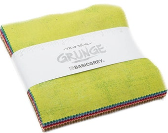 "NEW 2017 Grunge Charm BasicGrey for Moda Fabrics - 42, 5"" X 5"" Precut Fabric Squares"