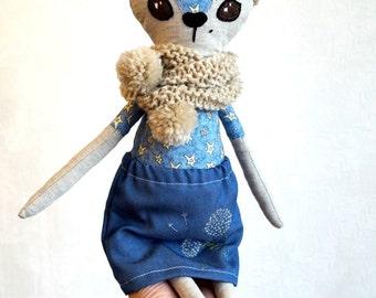 Indigo fawn doll.  Fabric cloth doll, textile decorative rag doll, handmade Heirloom doll, removable clothing