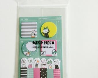 Cute neko cat post it note set