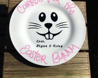 "Personalized Carrots for the Easter bunny plate.  Easter bunny food plate.  10.5"" white plate"