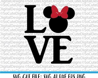 Minnie Love SVG File, svg saying, minnie svg, disney svg, girl svg, minnie mouse svg, disney svg, Cricut, Silhouette, Cut File Clip art
