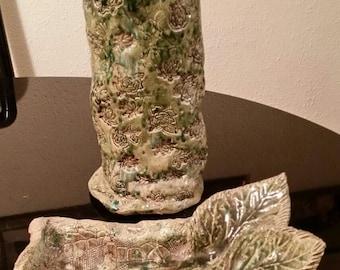 Set of Green Glaze Vase and Ornament