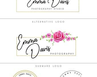 Floral logo, Premade branding package, Pink rose logo set, Flowers logo design, Photography logo and watermark, Branding kit, Premade logo