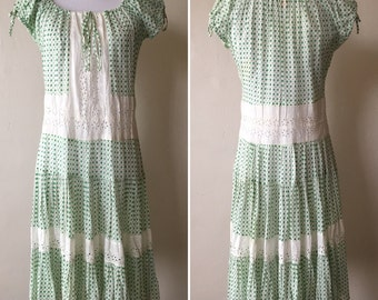 1940s Green and White Peasant Dress