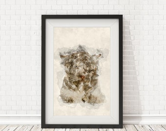 White tiger poster, Watercolor white tiger, White tiger poster, Wall decor print, PRINTABLE art, Animal wall art, Animal decor, Tiger poster