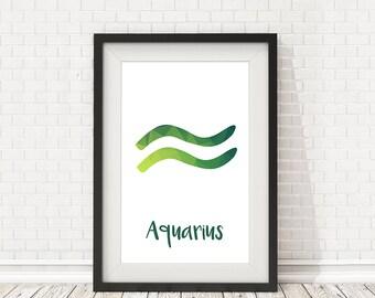 Astrology Aquarius, PRINTABLE zodiac sign, Aquarius print, Aquarius zodiac sign, Zodiac wall art, Zodiac decor, Abstract zodiac wall decor