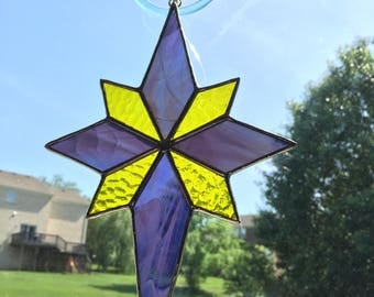Purple & yellow star stained glass suncatcher