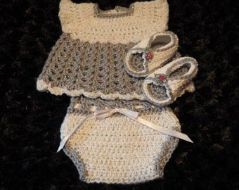 Baby dress, diaper cover and sandals set