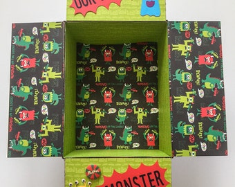 Care Package Flaps, Boy Birthday Box, Our Little Monster Care Package Kit, Monster, 9 pc Set, Deluxe Kit