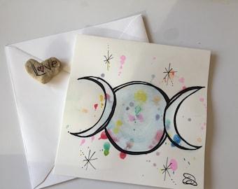 Full Moon card // Unique Watercolour Card // Birthday Card // Anniversary Card // Valentine's Card // Wedding Card // Easter