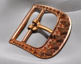 Vintage French Art Deco Belt Buckle Copper Toned Die Casting Raw Brass 1 Piece 422J