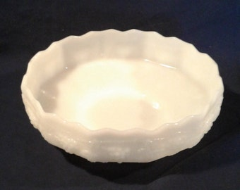 "Vintage Fire King Milk Glass ""Grape"" Pedestal Fruit Bowl"