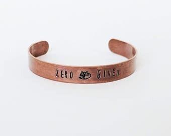 Zero Fox Given Bracelet // Zero Fucks Given Copper Bracelet + Silver + Brass + Hand Stamped + Zero Fucks Given Jewelry + Friendship Bracelet