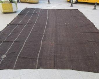 14x21 Ft Oversized vintage black,dark brown and gray striped handwoven Turkish nomad tente kilim rug