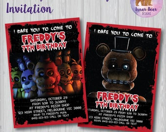 Fnaf Etsy Five Nights At Freddy S Birthday Invitation Template