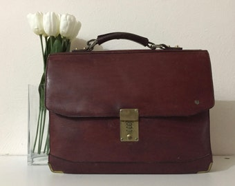 Vintage Leather Briefcase Burgundy Combination Lock Aktentasche Echtleder Burgund