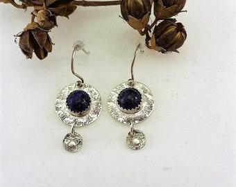 Lapis, Textured, Sterling Silver, Dangle Earrings