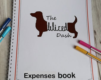 A4 personalised logo finance and expenses tracker, custom business accounts book, custom planner, money organiser, spiral business binder.